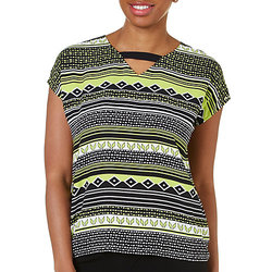 Alfred Dunner Women's Morocco Tribal Print Boxy Top - Lime/Black - Sz: 16