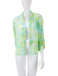 Ruby Rd. Women's Seafoam & Lime Textured Floral Print Top - Green -Size:8