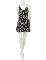 Women's Junior's Tropical Print Romper - Black/Ivory - Size: 9
