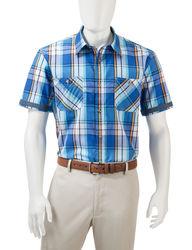 Haggar Men's Multicolor Madras Plaid Woven Shirt - Marine - Size: Medium