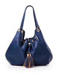 Signature Studio Women's Slouchy Tassel Front Hobo Bag - Navy