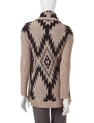 Hannah Women's Tonal Tribal Knit Cardigan - Gray - Size: L