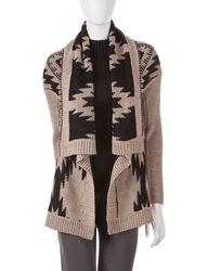 Hannah Women's Tonal Tribal Knit Cardigan - Brown - Size: M