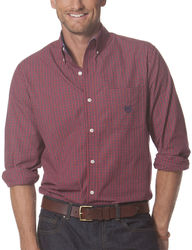 Chaps Men's Mini Check Woven Shirt - Orange - Size: Large
