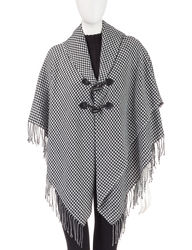 Accessory Street Women's Houndstooth Print Toggle Poncho - Black - Size: L