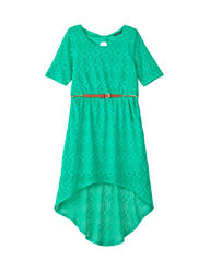 My Michelle Girls Lace Hi-Lo Dress - Green - Size: 8