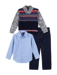 Nautica Boys 3-Piece Isle Cotton Sweater & Pant Set - Grey - Size: M
