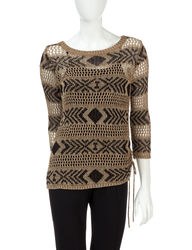Ruby Rd. Women's Tribal Revival Metallic Open Knit Sweater - Oak -Size: L