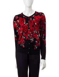 Cathy Daniels Women's Petite Rose Cardigan - Black - M