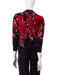 Cathy Daniels Women's Snap Front Rose Print Cardigan - Black/Red - Large