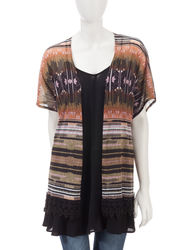 Signature Studio Women's 2-pc Crochet Cardigan & Tunic Set - Black - Sz: S