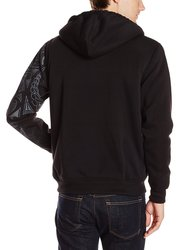 Southpole Men's Full Zip Sherpa Hoodie with Vertical Logo - Black - Large