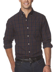 Chaps Men's Big & Tall Plaid Woven Shirt - Newton Navy - Size: 2XLT
