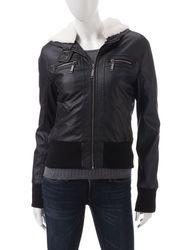 Ashley Girls Juniors Faux Leather Hooded Sherpa Jacket - Black -  Size: M