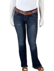Amethyst Girls Juniors Plus Belted Bootcut Jeans - Dark Rinse - Size: 16