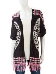 Pink Rose Women's Aztec Fringe Sweater - Black Multi - Size: Small