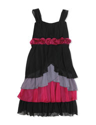 Speechless Girls Floral Tier Dress - Black - Size: 7