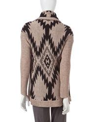 Hannah Women's Tonal Tribal Knit Cardigan - Gray - Size: S