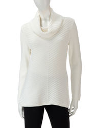 Valerie Stevens Women's Winter Mitered Striped Sweater -Cream -Size: Small