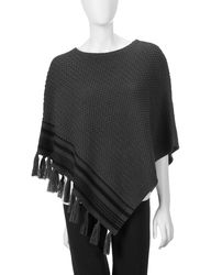 Valerie Stevens Women's Royal Flush Textured Knit Poncho - Grey/Black
