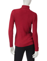 Valerie Stevens Women's Metallic Turtleneck Sweater - Red - Size: Large