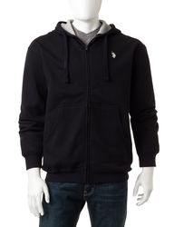 U.S. Polo Assn. Solid Color Full Zip Fleece Hoodie - Blue Heather - Size:L