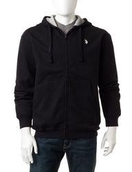 U.S. Polo Assn. Men's Full Zip Fleece Hoodie - Blue Heather - Size: XL