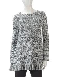 Valerie Stevens Women's Sharkbite Fringed Sweater - Multi - Size: Medium
