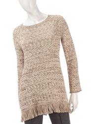 Valerie Stevens Women's Marled Knit Fringe Sweater - Beige - Size: L