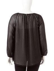 Signature Studio Women's Plus-Size Black Swiss Dot Blouse - Black - Sz: 2X