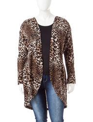 Signature Studio Women's Animal Print Cascade Sweater - Zebra - Size: 1X