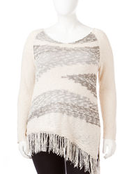 Women's Plus-size Marled Fringe Sweater - White / Grey - Size: 3X