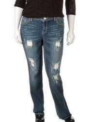 Amethyst Girls Distressed Gold Accent Jean - Dark Wash - Size: Junior Plus