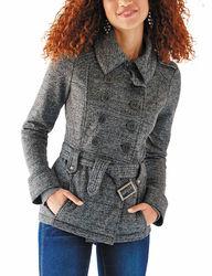 Ashley Women's Fleece Lined Double Breasted Peacoat - Light Grey - Size: M