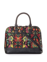 Bueno Women's Tapestry Dome Satchel Handbag - Black