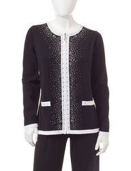 Cathy Daniels Women's Rhinestone Embellished Zippered Cardigan - Black