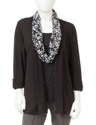 Cathy Daniels Women's Petite Layered-Look Top with Scarf - Red - Sz: P/XL