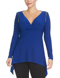 Chaus Women's Long Sleeve Zipper Shoulder Surplice Top - Lapis - Size: S