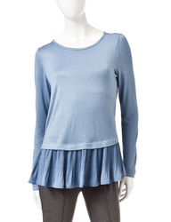 Valerie Stevens Women's Pleated Chiffon-to-Knit Top - Blue - L