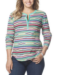 Chaps Women's Striped Waffle-Knit Henley Top - Multi - Size: 3X