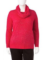 Cathy Daniels Women's Glitter Rhinestone Accent Sweater - Red - Size: 2X