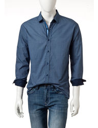 English Laundry Men's Blue Geo Print Woven Shirt - Navy Multi - Size: L