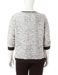Cathy Daniels Women's Marled Knit Sweater - Black/White - Size: 1X