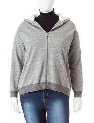 Cathy Daniels Women's Long-sleeves Hooded Jacket - Heather Grey - Size: 1X
