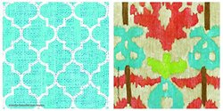 OCS Bright Lattice Tile III/Island Ikat A/2 Coasters, Multicolor