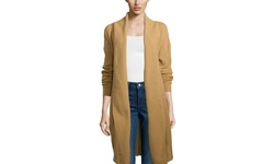POL Long Sleeve Open Duster - Tan - Size: Large