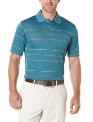 PGA Tour Striped Jacquard Polo - Dark Denim - Size: 2XL