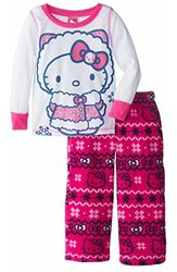 Hello Kitty Girl's 2-Piece Fleece Pajama Set - Pink/White - Size: 4