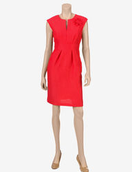 Sandra Darren Women's Coral Hopsack Sheath Dress - Red - 14