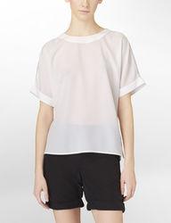Calvin Klein Jeans Women's Cuffed Chiffon Top - White - Size: Large